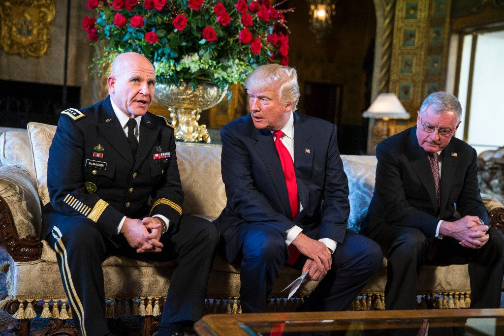 FILE -- President Donald Trump introduces Lt. Gen. H.R. McMaster, left, as the next national security adviser at Mar-a-Lago in Palm Beach, Fla., Feb. 20, 2017. Trump's appointment of McMaster  creates a powerful troika of senior officers who served in Iraq, teaming him up with Defense Secretary Jim Mattis and Homeland Security Secretary John Kelly, the secretary of Homeland Security, both retired four-star Marine generals. (Al Drago/The New York Times)