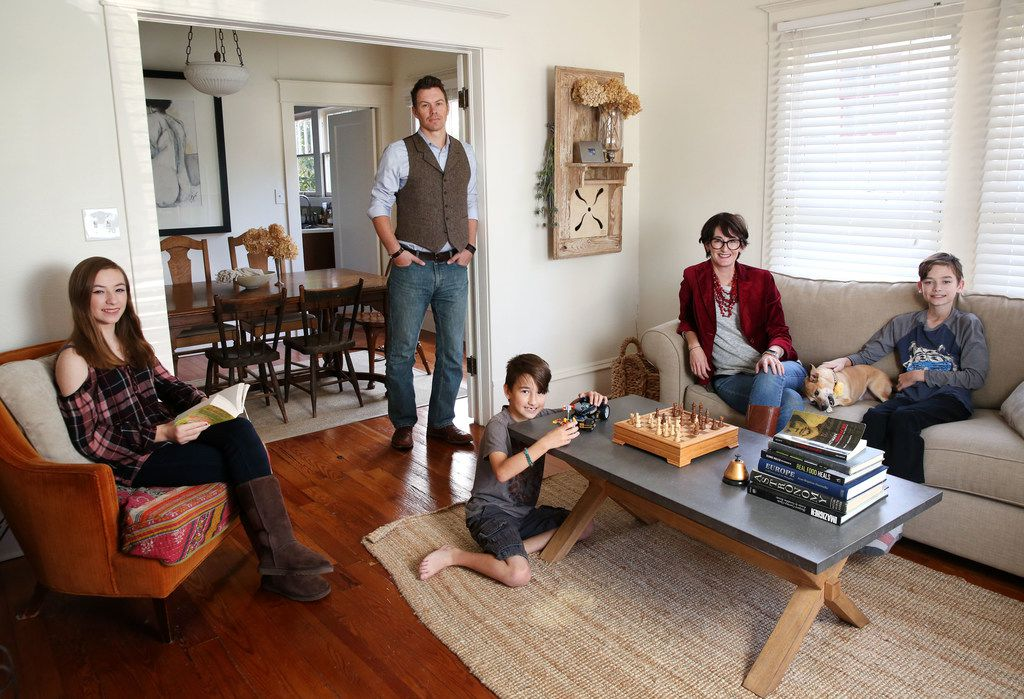 The Ettiene family in their 1,400-square-foot home in McKinney.