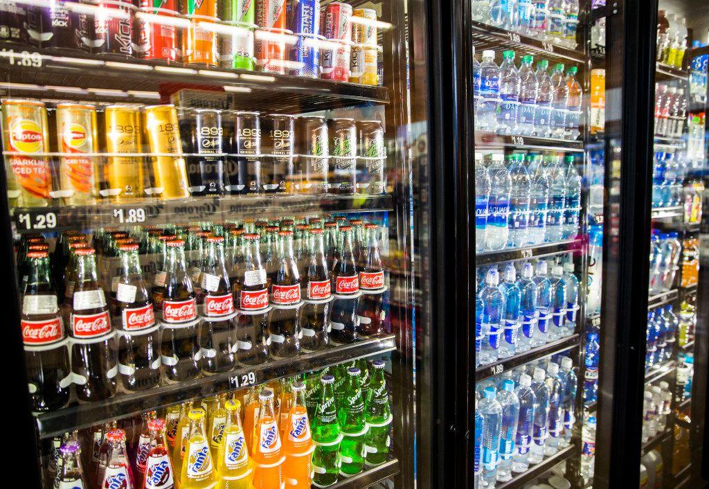 Drinks in refrigerators at a new Fuel City location on Friday, December 16, 2016 on Haltom Road in Haltom City. (Ashley Landis/The Dallas Morning News)
