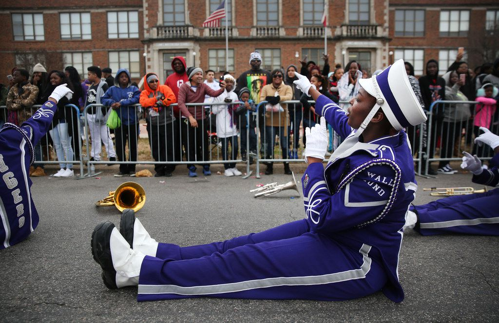 Francheska Johnson, with the Lincoln High School Wall of Sound Band, performs during the Martin Luther King, Jr. Parade on Martin Luther King, Jr. Day in Dallas.