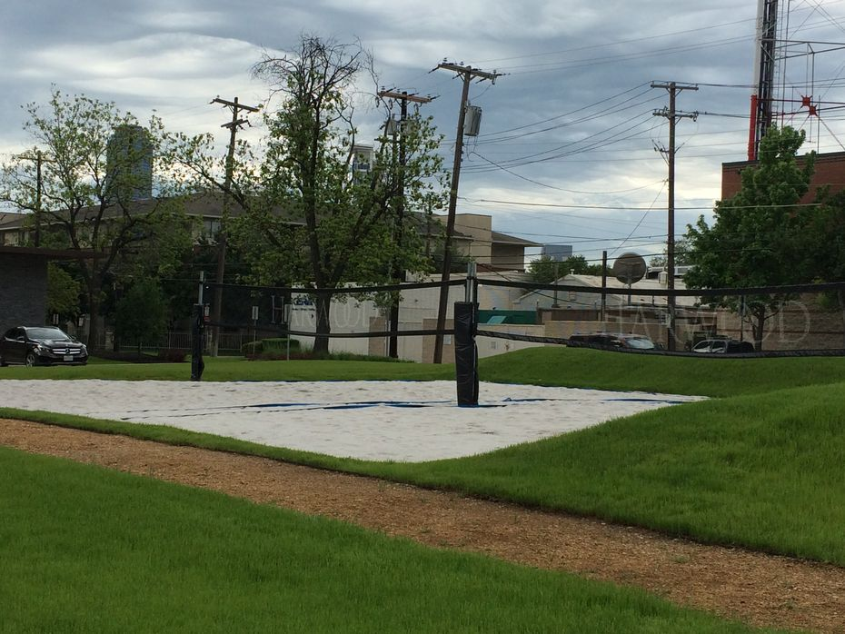 The volleyball courts at The Grove at Harwood, expected to open in May.