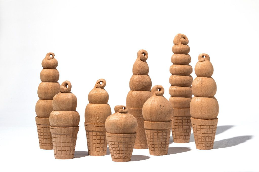 Dipped cones in carved cedar by Marfa, Texas artist Camp Bosworth