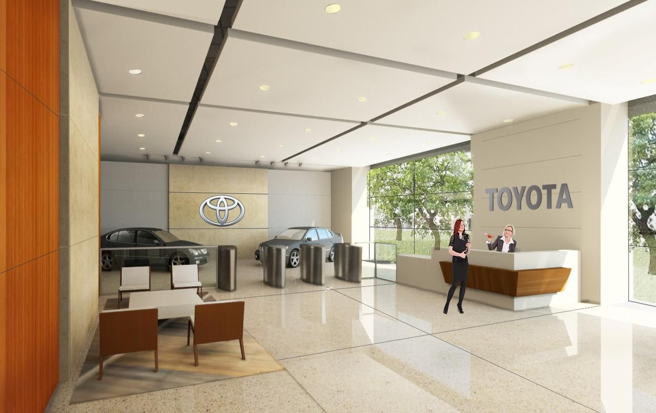 Artist renderings of Toyota's new headquarters in west Plano show lots of wide open spaces and cars on display.