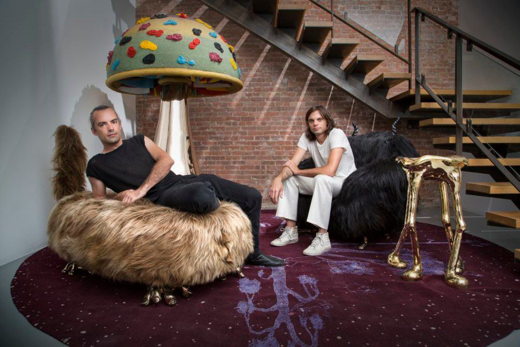 The Haas Brothers. Simon, left and Nikolai, right, are artists from Austin, Texas now based in LA who are making their Dallas debut at the Dallas Art Fair. They created the 'King Dong' sculpture on special display in the Joule hotel lobby in downtown Dallas.