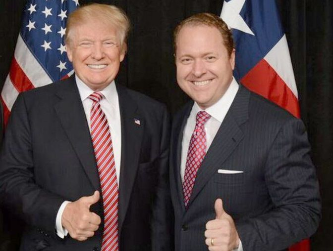 President Donald Trump and Gentry Beach. Beach, a Dallas businessman is credited for raising millions for Trump's campaign.