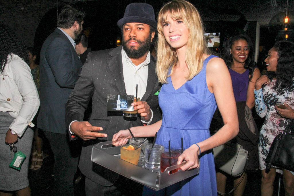 Violet Hanners of Belvedere Vodka with Bryan Williams at the party