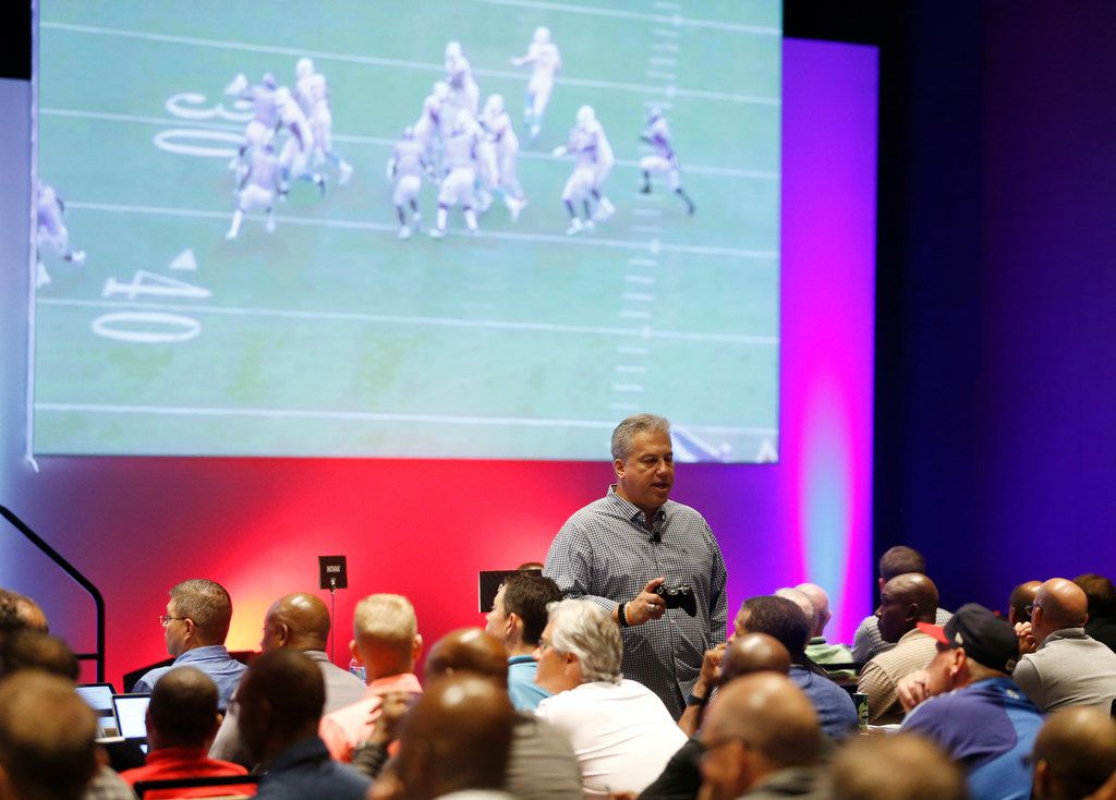 NFL senior vp of officiating Al Riveron explains the new rules for the upcoming season during the NFL Officiating Clinic at the Renaissance Dallas At Plano Legacy West Hotel in Plano, on Friday, July 12, 2019. (Vernon Bryant/The Dallas Morning News)