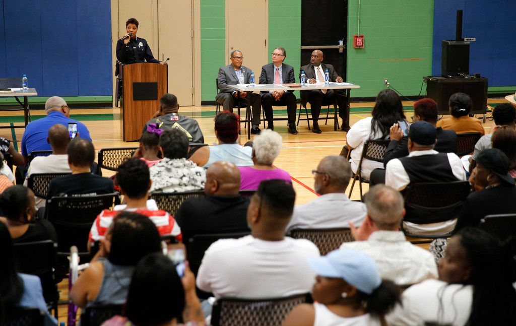 Dallas Police Chief U. Renee Hall speaks to the community during the South Dallas Community Safety Meeting hosted by the Dallas Police Department at the MLK Recreation Center in Dallas on Thursday, June 6, 2019.