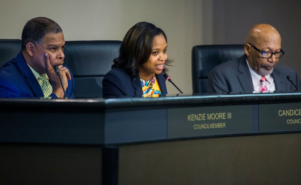 From left: DeSoto City Council members Kenzie Moore III, Candice Quarles and Dick North during a DeSoto City Council meeting at the Jim Baugh Government Building.
