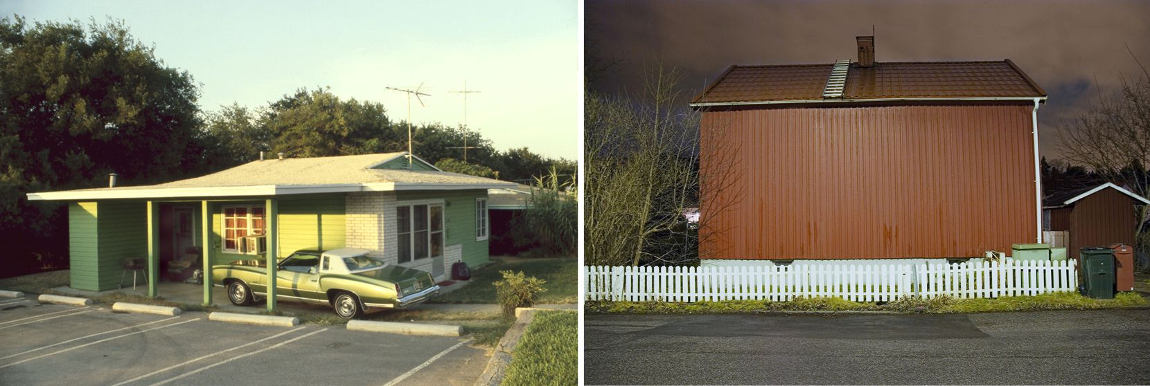 (LEFT) Christina Patoski, Green On Green, 1978; (RIGHT) Joakin Eneroth, Swedish Red, Comfortably Secure, 2006