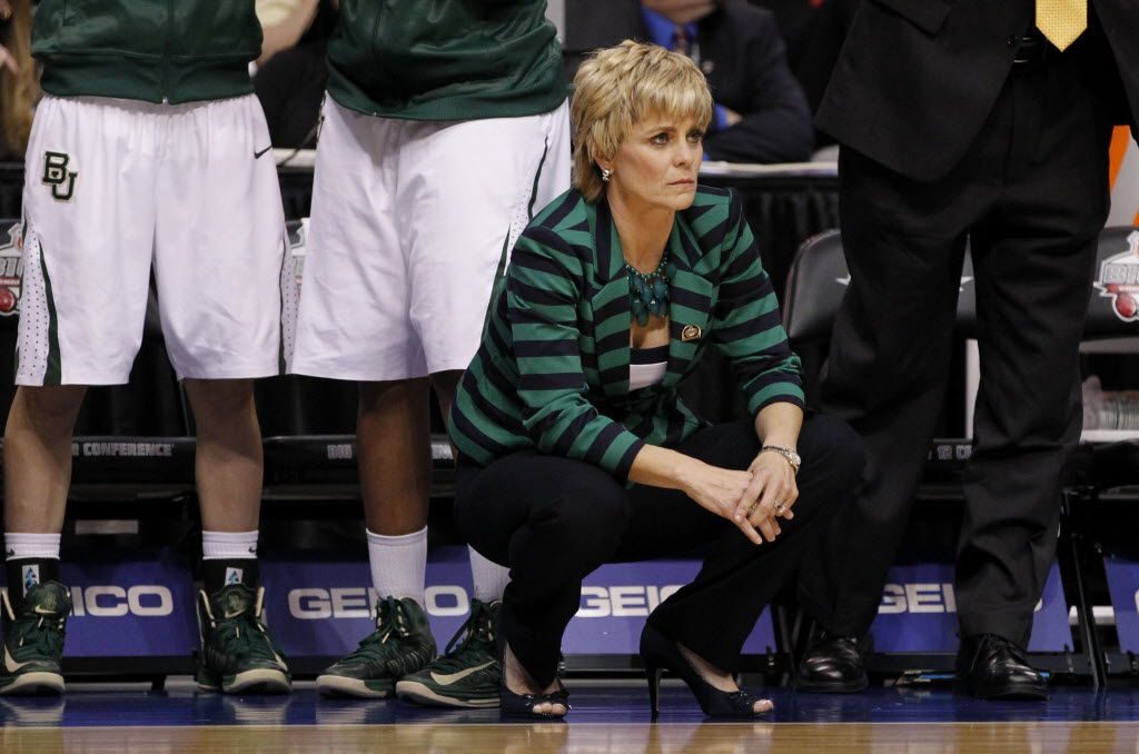 Baylor Bears head coach Kim Mulkey during a game against the Oklahoma State Cowgirls in the second half of play during the Big 12 Women's Basketball Championship at the American Airlines Center in Dallas on March 10, 2013. Baylor Bears defeated Oklahoma State Cowgirls 77-69. (Vernon Bryant/The Dallas Morning News)