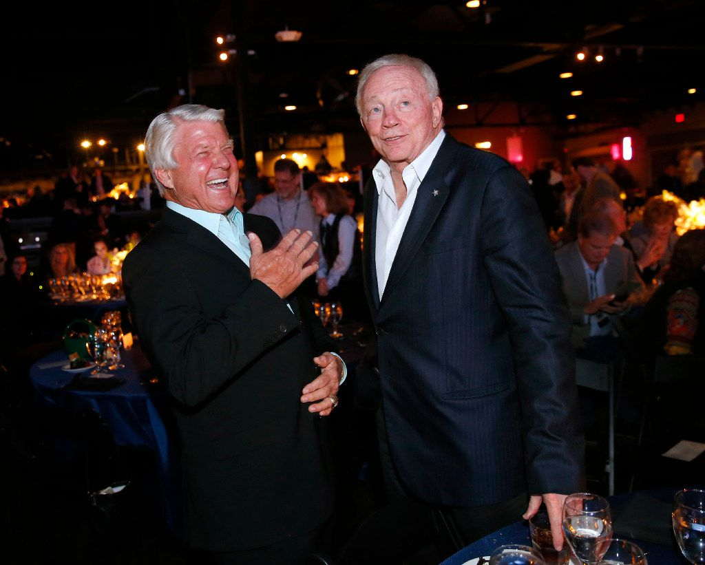 Dallas Cowboys owner Jerry Jones (right) and his former Super Bowl winning coach Jimmy Johnson share a laugh following the 25th Anniversary of the Dallas Cowboys Super Bowl XXVII at Gilley's in Dallas, Saturday, February 25, 2017. The event was hosted by Troy Aikman and United Way of Metropolitan of Dallas in which he is the new fundraiser. The evening featured appearances by Cowboys legends, a conversation with head coach Jimmy Johnson and other members of the 1992 coaching staff, and a special celebration honoring Jerry Jones for his election to the Pro Football Hall of Fame. (Tom Fox/The Dallas Morning News)
