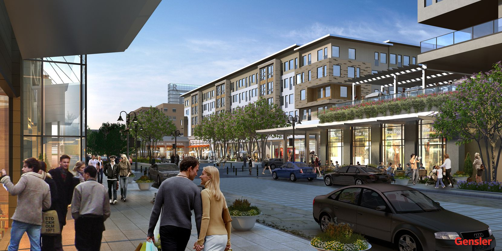 The first shops and restaurants open in the $500 million Legacy West Urban Village in March.