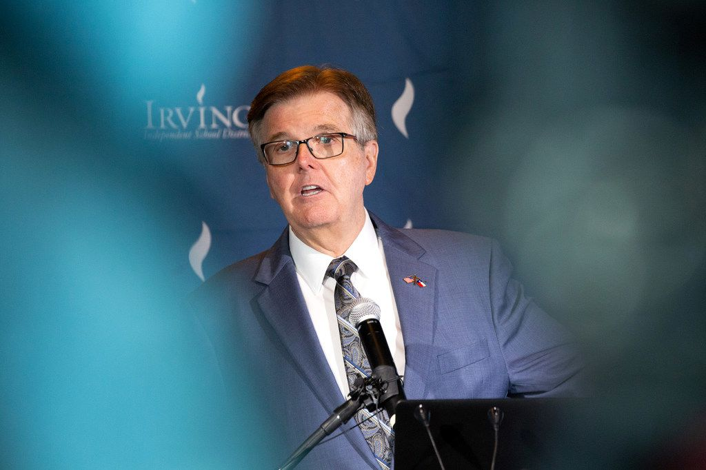 Lt. Gov. Dan Patrick, shown in Irving Thursday during a three-city flyaround to tout the state's A-F school accountability ratings as a big success, felt chest pains when he returned home to Houston late that night.  Doctors at Houston Methodist Willowbrook Hospital inserted a stent to alleviate 'a dangerous heart blockage.' Patrick is said to be doing fine.