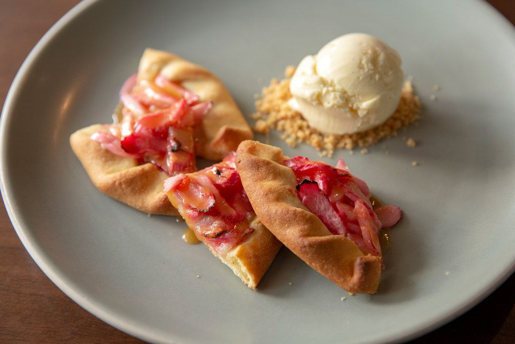 Rhubarb galette with vanilla creme fraiche ice cream