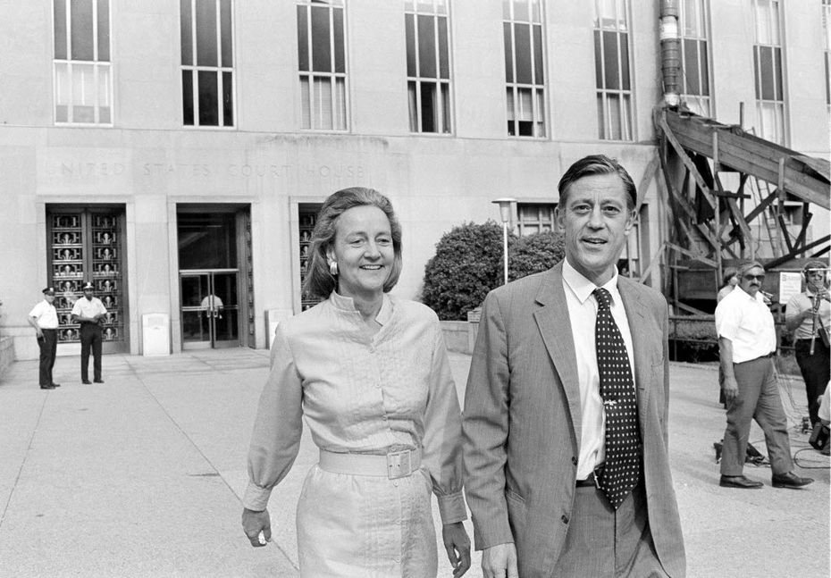 In this June 21, 1971 file photo, Washington Post Executive Director Ben Bradlee and Post Publisher Katharine Graham leave U.S. District Court in Washington. (AP Photo, File)