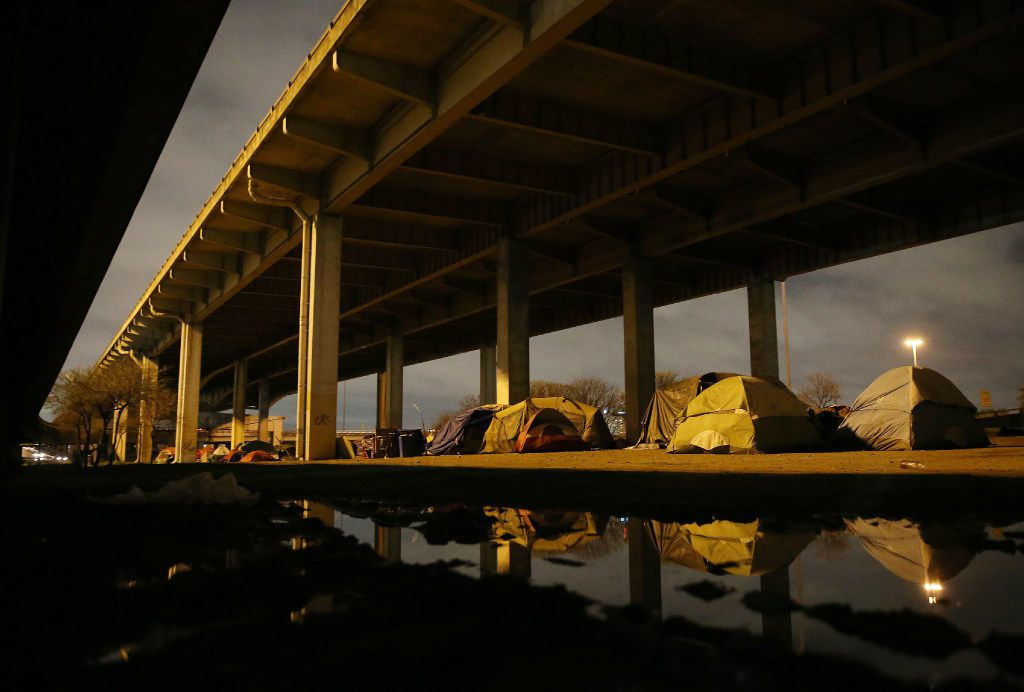 A sprawling homeless encampment under Interstate 45 near downtown Dallas, once home to nearly 300 people, was cleared out earlier this year. (Andy Jacobsohn/Staff Photographer)