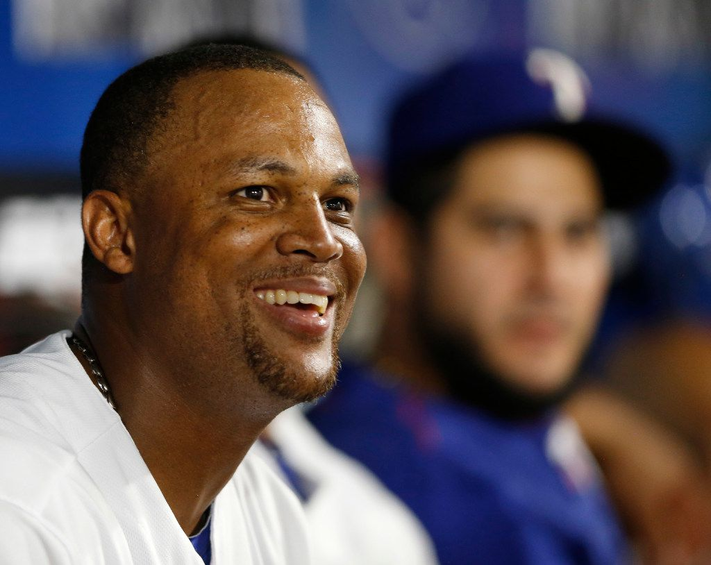 Texas Rangers third baseman Adrian Beltre (29) smiles as he looks at the big screen during the eighth inning of play at Globe Life Park in Arlington on Tuesday, June 20, 2017. Texas Rangers defeated the Toronto Blue Jays 6-1. (Vernon Bryant/The Dallas Morning News)