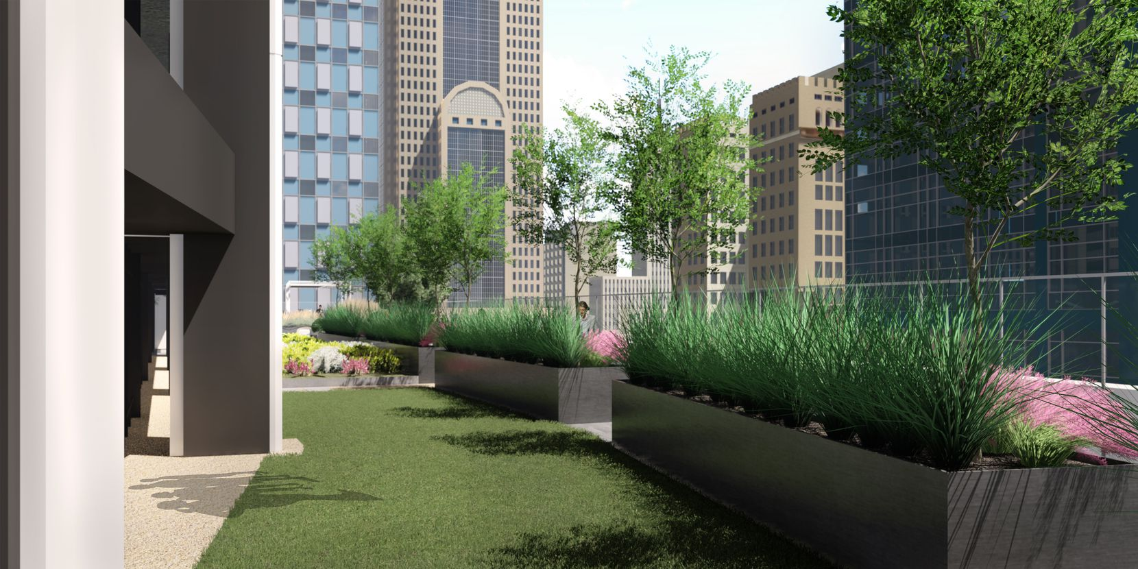 The ninth floor of The Drever tower in downtown Dallas has outdoor space.