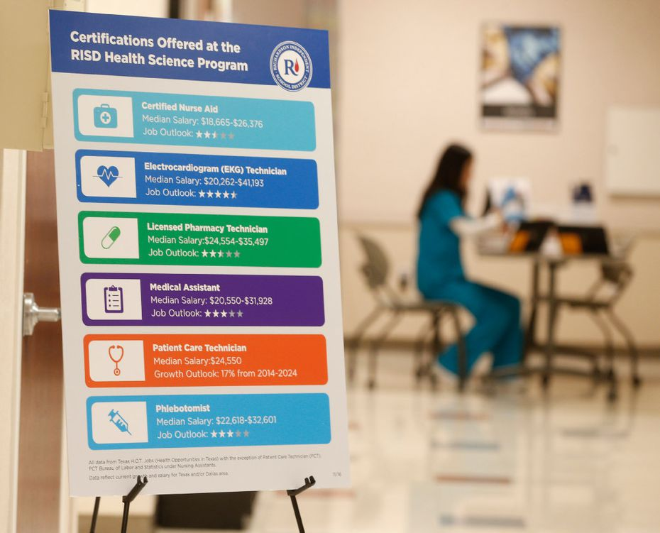 A sign is posted in the wing dedicated to RISD Health Science program at Methodist Richardson Campus for Continuing Care in Richardson, Texas on January 5, 2017.  (Nathan Hunsinger/The Dallas Morning News)
