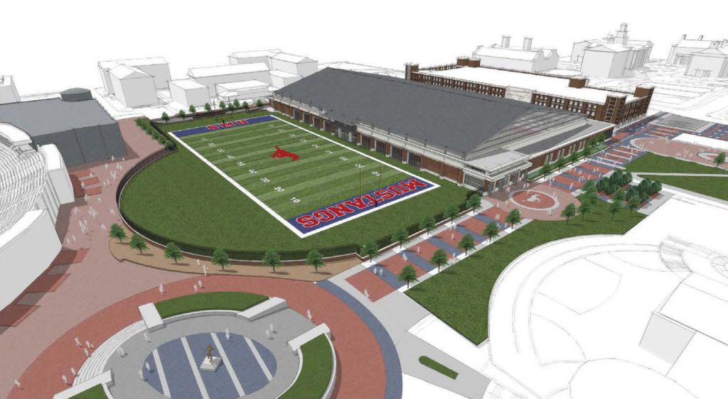 Artist's rendering of the indoor athletic practice facility planned for construction at SMU.