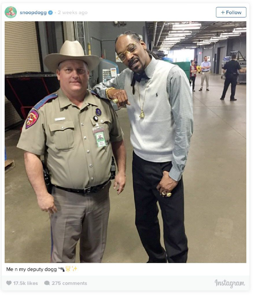"Department of Public Safety Trooper Billy Spears got reprimanded by superiors for allowing rapper Snoop Dogg to take a picture with him during the South by Southwest music festival in Austin in March 2015. Snoop Dogg posted the picture on Instagram, along with the line, ""€œMe n my deputy dogg."""