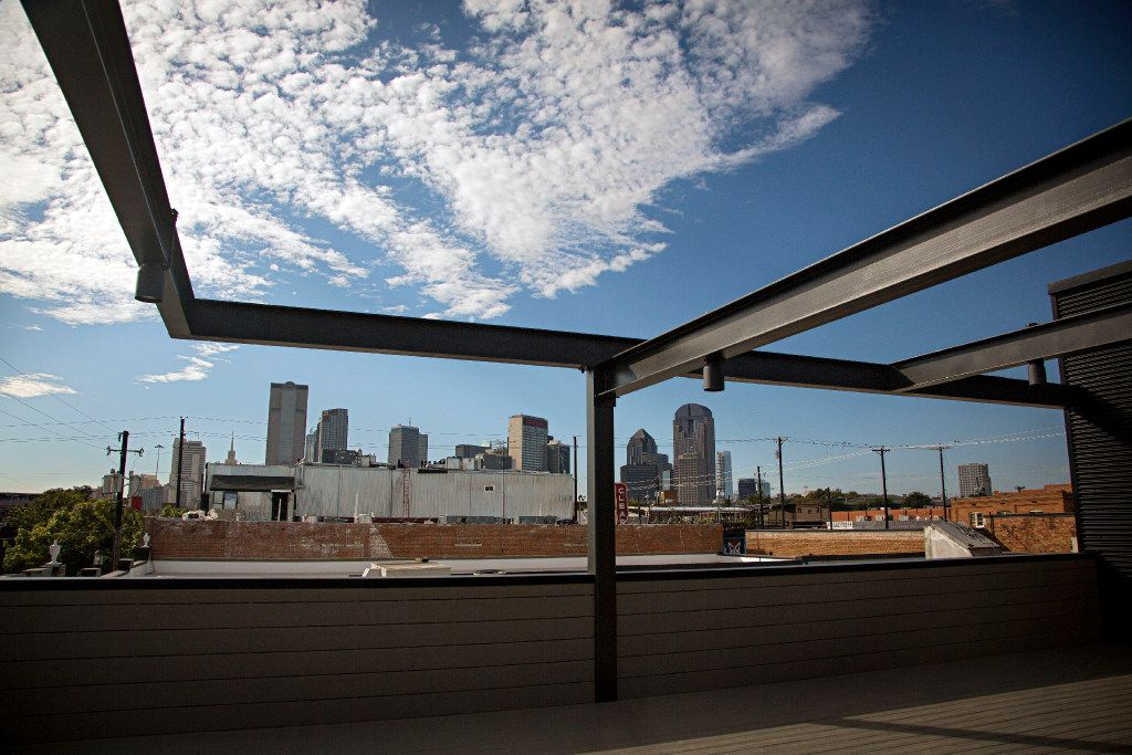 A view of downtown from a bar at the under-construction 2800 Deep Ellum project.  Restaurants and bars in the development are expected to begin opening in early 2017. (G.J. McCarthy/The Dallas Morning News)
