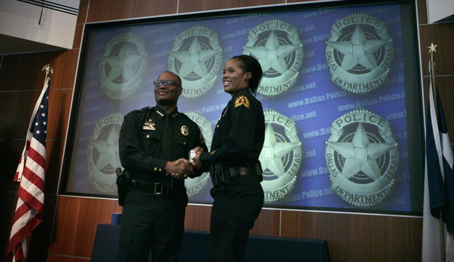 Then-Police Chief David Brown presented a deputy chief badge to Catrina Shead in July 2012. Shead commanded the northwest patrol division before being demoted recently to major to oversee the central patrol division.