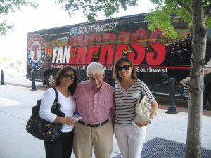 Debbie and Ira Tobolowsky with their friend Randee Hefflefinger at a Texas Rangers game. (Ira Tobolowsky family)