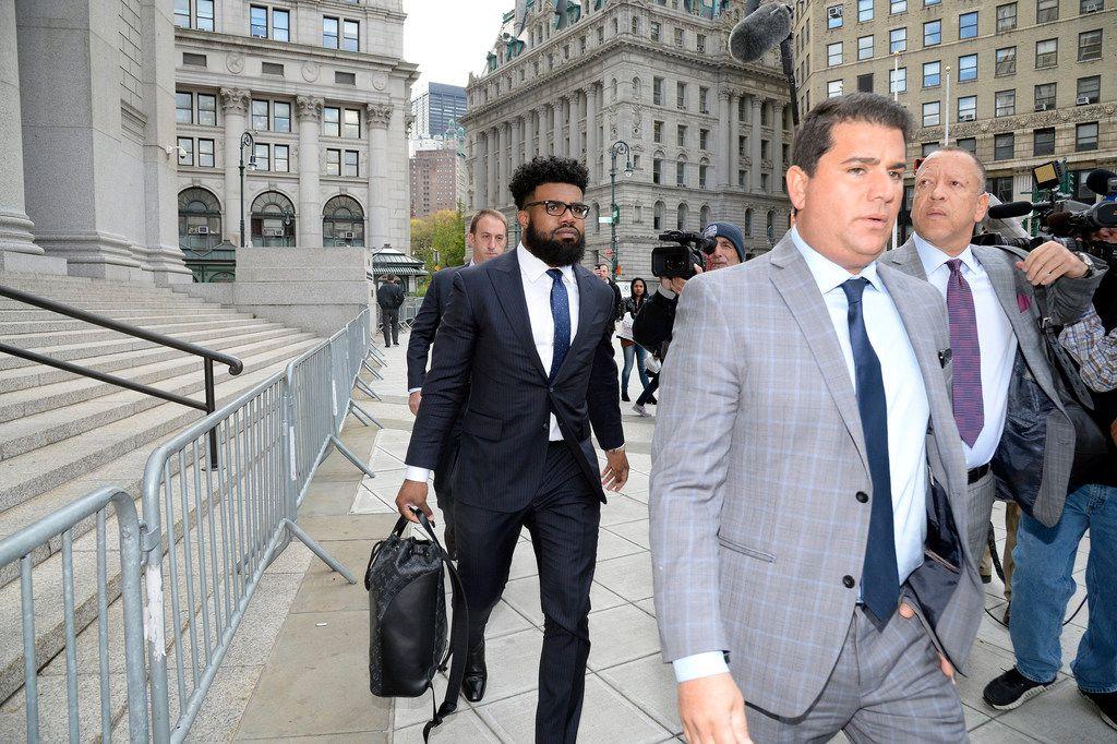 Dallas Cowboys football player Ezekiel (Zeke) Elliott arrives at Manhattan Federal Court on Thursday, Nov. 9, 2017 to appeal his six-game suspension. (Jefferson Siegel/New York Daily News/TNS)