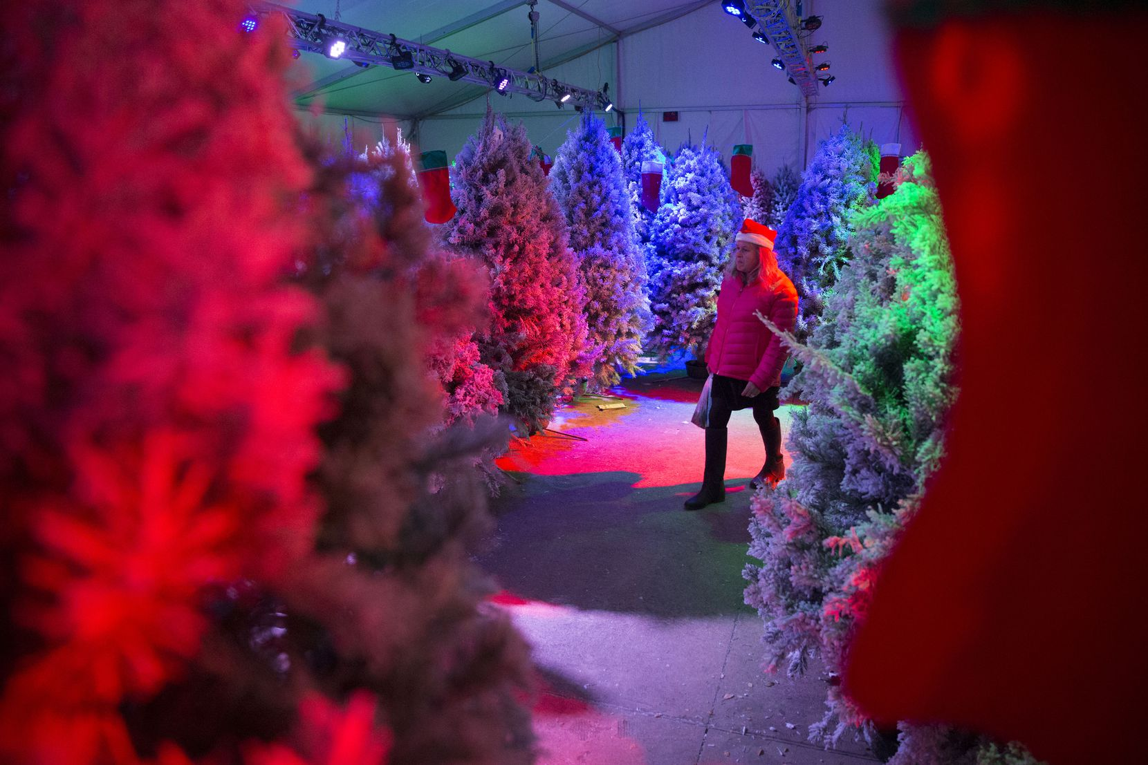 In addition to 175,000 lights blinking to holiday music, Frisco's Christmas in the Square will feature a maze made with hundreds of flocked Christmas trees.