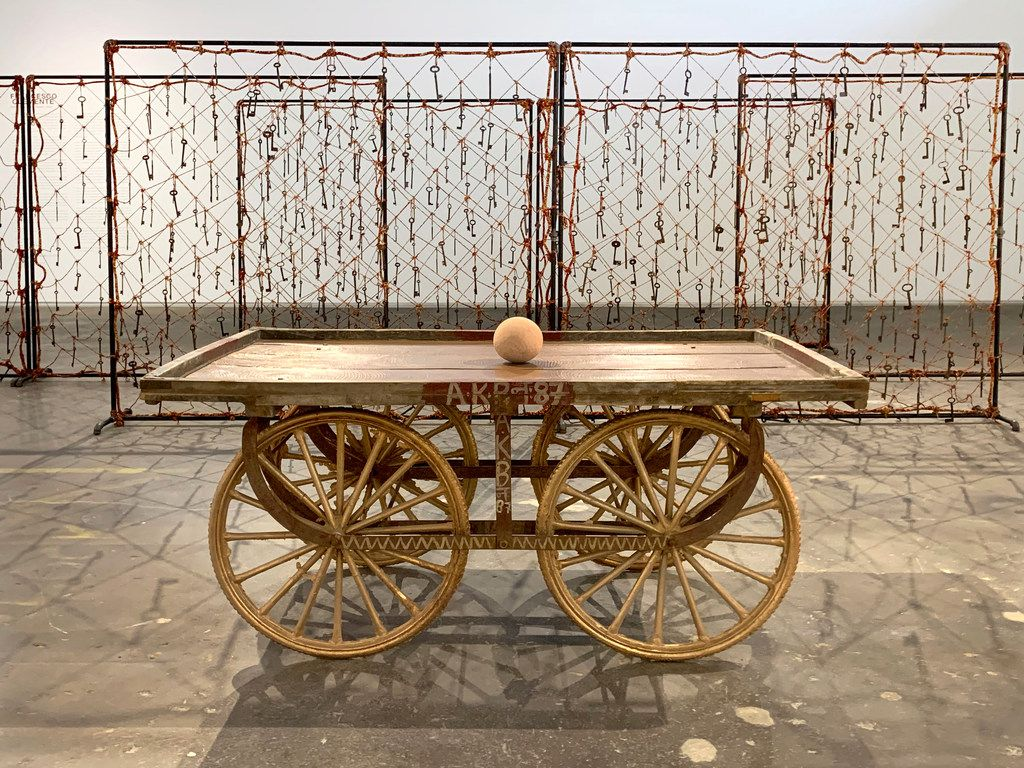 Cosmogony, 2016, wood, copper, aluminum at the exhibition Watchtowers, Keys, Threads, Gates at Dallas Contemporary