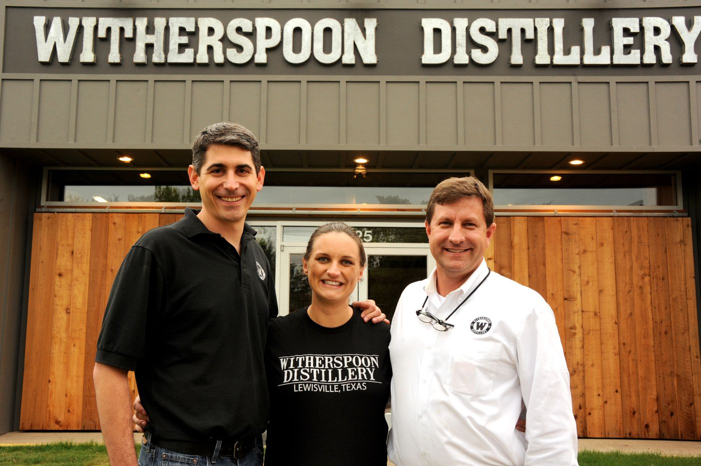 Founders Ryan DeHart and Natasha DeHart with Master Distiller Quentin Witherspoon at Witherspoon Distillery in Lewisville, TX on October 24, 2015.