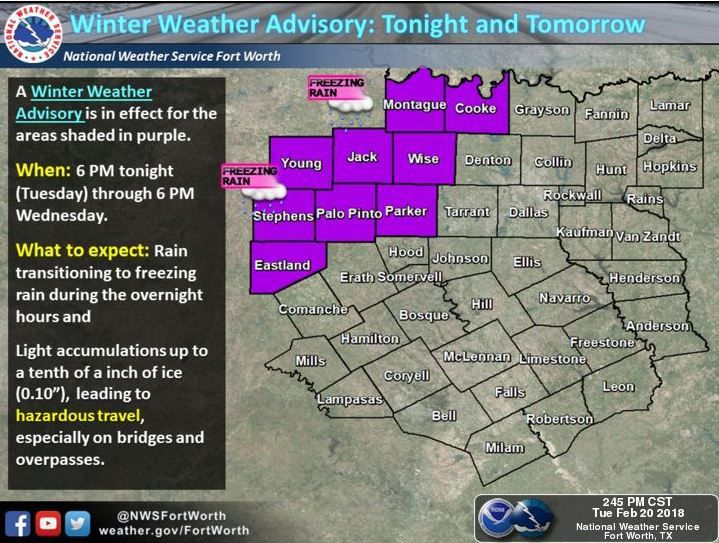 The National Weather Service has issued a winter weather advisory through Wednesday for areas northwest of Dallas-Fort Worth.