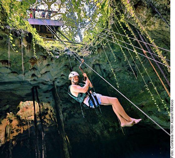 Recorre los tres diferentes tipos de cenotes (abierto, semiabierto o cerrado), ya sea realizando rappel, saltos de altura o arrojándote desde una tirolesa con el tour Our Xenotes, del Hotel Xcaret México.
