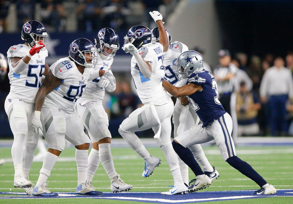 Dallas Cowboys cornerback Byron Jones (31) shoves Tennessee Titans free safety Kevin Byard (31) after he and the Titans defense danced on the star in the first quarter following a Dak Prescott interception at AT&T Stadium in Arlington, Texas, on Monday, Nov. 5, 2018. (Tom Fox/Dallas Morning News/TNS)