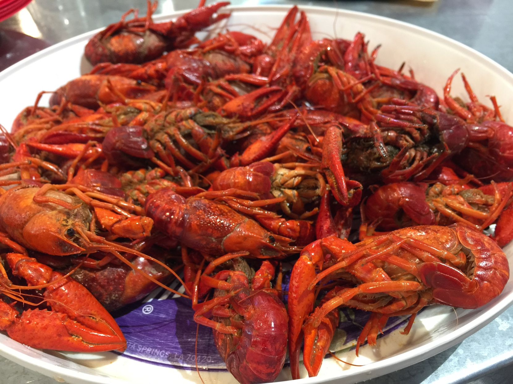 A 2-pound platter of boiled crawfish at Cajun Tailgators
