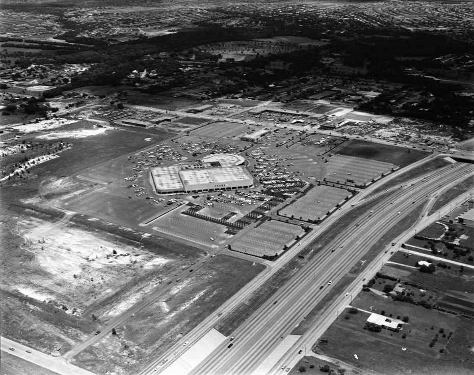 Shot June 13, 1970 - aerial photo of Sears store which opened first before the rest of Valley View Center opened in 1973. In January 1969, the first 10-mile section of Interstate 635 opened from N. Central Expressway to Mesquite. In February 1970, the highway was extended west from Central to I-35.