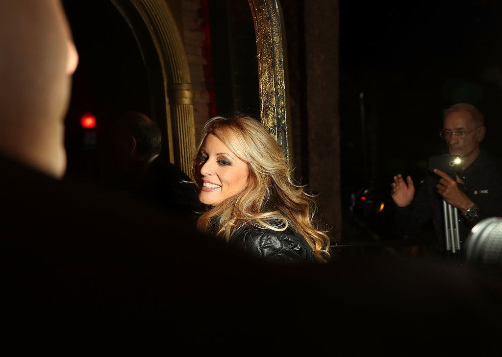 Actress Stephanie Clifford, who uses the stage name Stormy Daniels, arrives to perform at the Solid Gold Fort Lauderdale strip club March 9 in Pompano Beach, Fla.  Clifford has filed a lawsuit against President Donald Trump accusing him of trying to nullify a nondisclosure deal.