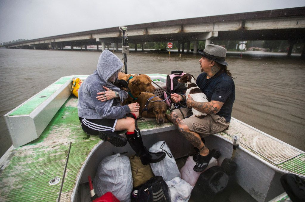 Stacie and Shane Montie and their pets ride an airboat after being rescued by volunteers in Lumberton.