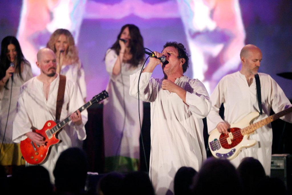 """The Polyphonic Spree, led by singer Tim DeLaughter (second from right), will perform in a """"Care For the Caravan"""" benefit concert on May 18 at the Granada Theater in Dallas."""