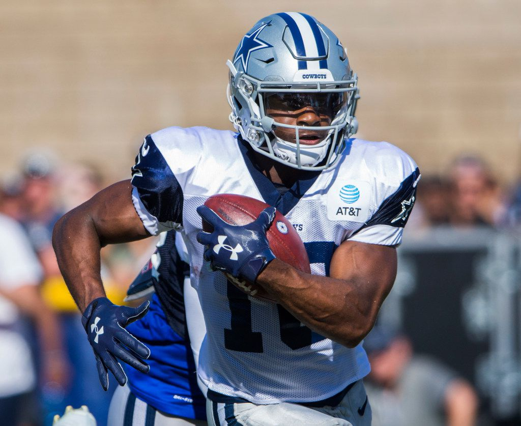 Dallas Cowboys wide receiver Randall Cobb (18) runs the ball during an afternoon practice at training camp in Oxnard, California on Tuesday, August 6, 2019.