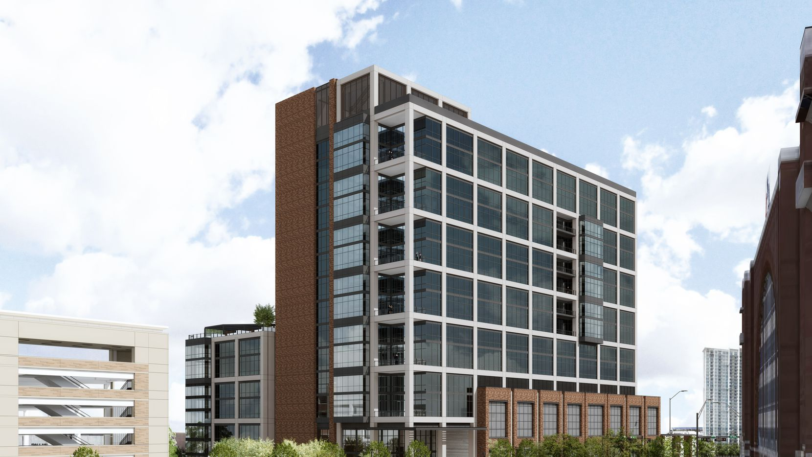 The office building is planned across from the American Airlines Center arena.