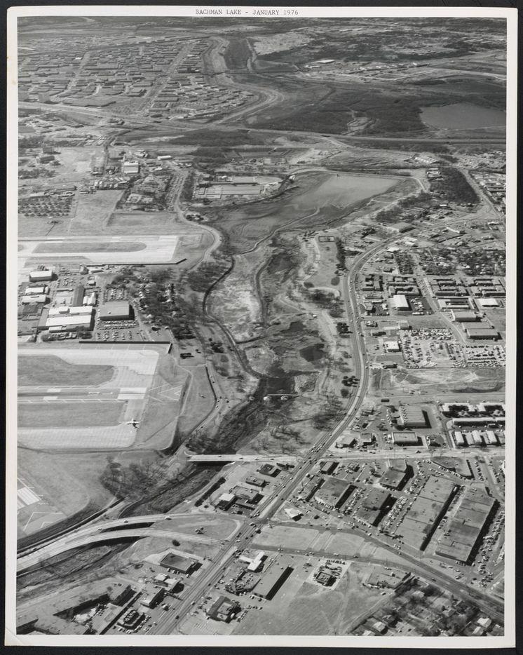 Bachman Lake as it looked when it was drained in January 1976