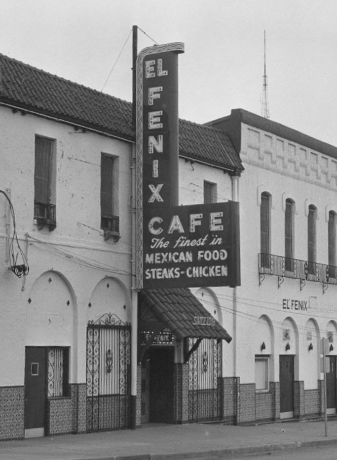 Undated image from the mid-1900s  shows El Fenix Cafe's main Dallas location, with the ballroom next door