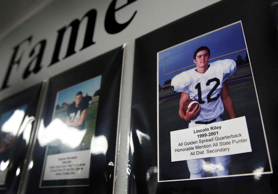 Former quarterback Lincoln Riley is part of the Muleshoe Mules Wall of Fame in the school's field house in Muleshoe, Texas, Tuesday, August 1, 2017. Riley is the new head football coach for the Oklahoma Sooners. (Tom Fox/The Dallas Morning News)
