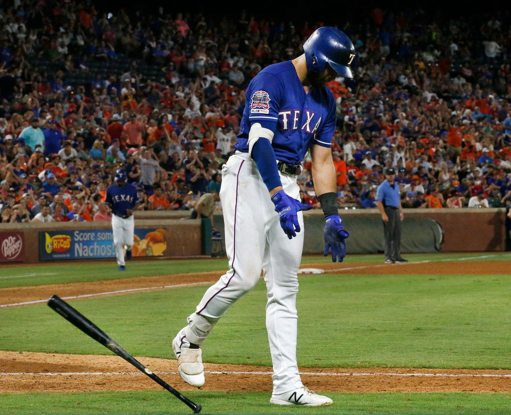 Texas Rangers center fielder Joey Gallo (13) reacts after striking out to end the eighth inning against the Houston Astros at Globe Life Park in Arlington, Texas, Saturday, July 13, 2019. The Rangers lost, 7-6, in 11 innings.  (Tom Fox/The Dallas Morning News)