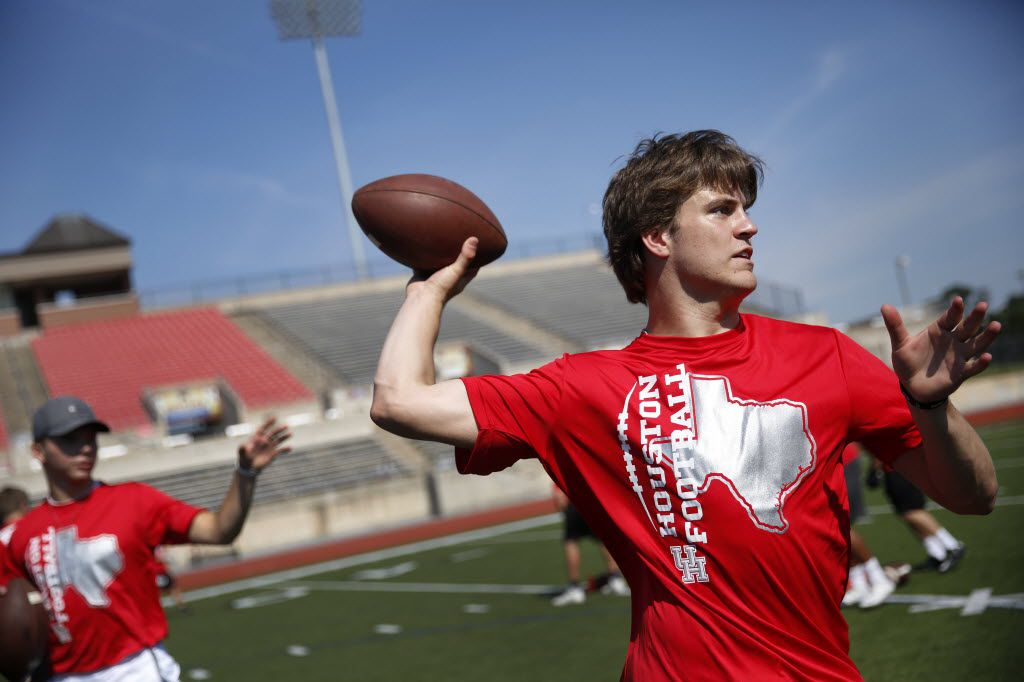 Coppell quarterback Brady McBride shows his throwing skills during the University of Houston football satellite camp.  Statewide high school football players paid to learn something from staff and show off their skills in front of head coach Tom Herman and Texas A&M's Kevin Sumlin at Coppell High School, Friday, June 10, 2016.