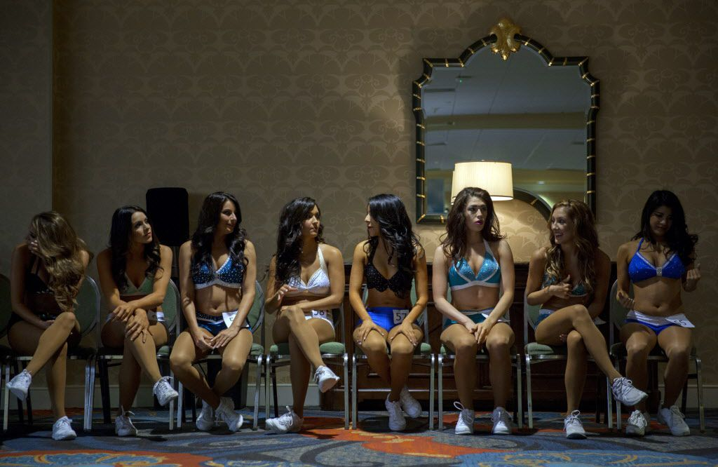 Participants wait their turn to face the judges during final auditions to join the 2015-2016 Dallas Mavericks Dancers team Sunday, July 12, 2015 in Dallas. More than 40 women made it to the finals, vying for a spot to take part in a training camp later in the week.