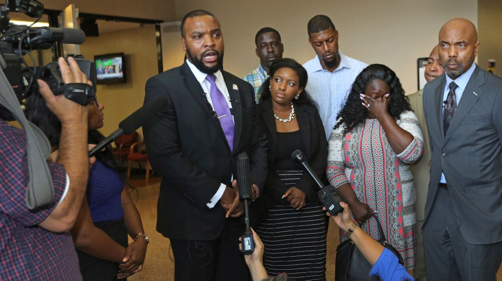 Attorney Lee Merritt spoke at a news conference with Jordan Edwards' family last year after a grand jury indicted fired Balch Springs police Officer Roy Oliver on a murder charge in the fatal shooting of Jordan.